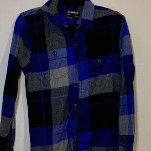 Express Blue Flannel Button Down